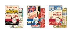 Vintage travel inspired Paris, New York, London pocket notebooks from Cavallini.