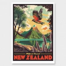Milford Sound Art Print by Ross Murray Tourism Poster, Travel Posters, Vintage Art Prints, Vintage Colors, Graphic Posters, Graphic Art, Craft Beer Labels, New Zealand Art, Nz Art