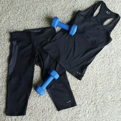 SALE Champion workout set In great condition,  only wore couple times. Selling cause don't fit anymore after having a baby. The top has an inner bra, not padded. Bottom is 3/4, sides and back have gray mesh material. Has a small secret pocket inside. 90% polyester 10%spandex Champion Other