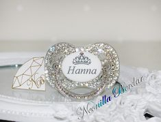 Personalized Pacifier made with Swarovski Crystal - Bling pacifier Baby Shower Deco, Baby Shower Favors, Shower Gifts, Baby Sucker, Bling Pacifier, Newborn Baby Dolls, Baby Bling, Cute Baby Pictures, Baby Girl Shoes