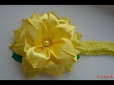 Повязка на голову с объёмным цветком - YouTube