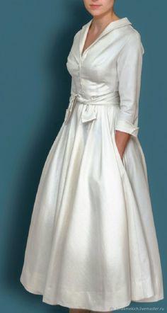"""Купить платье - рубашка с юбкой- клеш """"Свадебная рубашка"""" - белый, свадебное платье- рубашка"""