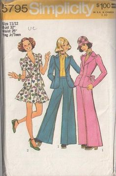 MOMSPatterns Vintage Sewing Patterns - Simplicity 5795 Vintage 70's Sewing Pattern SUPER FUNKY Retro Annie Hall Suit, Tie Back Peplum Flared Jacket Top, Flirty Flared Mini Skirt, Full Flared Bell Bottoms Pants