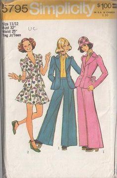 MOMSPatterns Vintage Sewing Patterns - Simplicity 5795 Vintage 70's Sewing Pattern SUPER FUNKY Retro Annie Hall Suit, Tie Back Peplum Flared Jacket Top, Flirty Flared Mini Skirt, Full Flared Bell Bottoms Pants