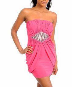 G2 Fashion Square Women's Strapless Embellished Waist Draped Dress