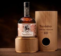 The Rare 40 Year Old Islay Single Malt Scotch Whisky from Bunnahabhain Distillery packaged in a bespoke oak gift box! One can dream. Tequila, Vodka, Cigars And Whiskey, Scotch Whiskey, Rum, Spirit Drink, Strong Drinks, Alcohol Bottles, Liquor Bottles