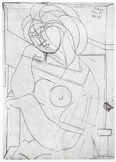 Pablo Picasso, Seated Nude Woman with Head on Hand, art-Walk Picasso Prints, Pablo Picasso Drawings, Picasso Sketches, Kunst Picasso, Art Picasso, Picasso Paintings, Art Drawings, Picasso Portraits, Abstract Drawings