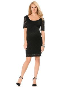 This Elbow Sleeve Lace Trim Maternity Dress by Jessica Simpson is a maternity wardobe staple! #littleblackdress