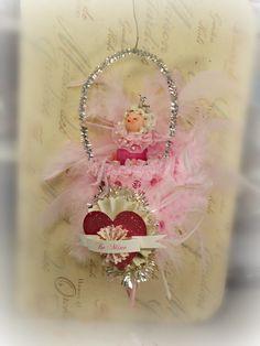 Victorian inspired tussie mussie cone Valentine decoration with pink Princess pixie