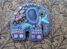 """Купить Брошь """"Нежный слон"""" - слон, слоник, брошь, брошь-слоник, кианит"""
