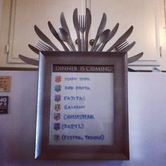 I made  a Game of Thrones themed dinner planning menu for my fridge.