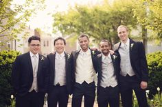 Alex Santos and his groomsmen all dressed up with navy and cream accents for the big day #realwedding | Washingtonian Bride & Groom