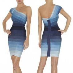 Herve Leger Annett one shoulder bandage ombre dress blue