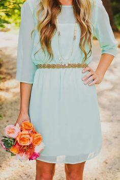 mint dress with gold belt