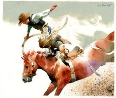 Artist - Don Weller Title - Altitude Category - Wet Medium  I love the bucking horse Futurity in Peoa (two miles from my home) because the drive is short and the horses buck like rag dolls on a hot skillet and trhow riders off one at a time. Makes for good watchin' and good paintin'.
