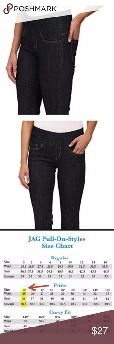 """Jag Jeans  in Boot Cut Pull on denim size 0P Stylish denim just got way more comfortable. Pull-on jean has a higher rise and bootcut leg for a flattering, proportionate fit. Wide elastic waistband offers an easy fit and smooth silhouette. No dreaded muffin top in these jeans! dark blue wash on comfortable stretch cotton-poly denim. Five-pocket design sports signature """"j"""" embroidery on the back. Contrast topstitching. Stitched outline of a brand patch and small tag accent the back waist. Zip…"""