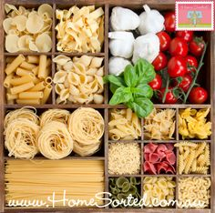 Create a unique display with dry pasta for your kitchen bench top!