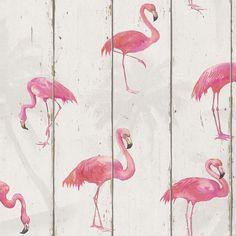 Pinke Flamingos auf creme | Wohnwelten junges Wohnen - - Tapetenmarkt