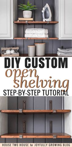 How to install diy custom wooden open shelving - get the full step by step tutorial on how to build custom open shelves for your space! create more room for Laundry Room Shelves, Laundry Storage, Laundry Rooms, Kitchen Storage, Ikea Kallax Regal, Diy Regal, Diy Hanging Shelves, Diy Storage, Storage Ideas