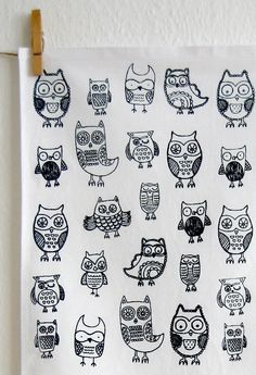 Owl tea towel by cupcakesandcards on Etsy