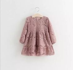 Cassia- Gorgeous dusty rose long sleeved lace toddler dress (Front view)