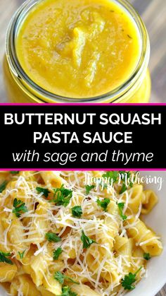 Learn how to make the best Butternut Squash Pasta Sauce with sage and thyme! This easy and healthy recipe is nutritious & delicious! Get a creamy texture without dairy in this simple kid friendly recipe. Pasta Sauce Dairy Free, Easy Pasta Sauce, Pasta Sauce Recipes, Butternut Squash Pasta Sauce, Butternut Squash Cubes, Healthy Pasta Sauces, Healthy Pastas, Real Food Recipes, Healthy Recipes