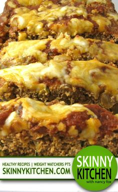 Skinny Pizza Meatloaf. Each dreamy 2 slice serving has 225 calories, 6 grams of fat and 6 Weight Watchers POINTS PLUS. http://www.skinnykitchen.com/recipes/skinny-pizza-meatloaf/