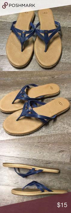 UGG flip flops UGG flip flops. Purplish blue size 9 leather flip flops. Great shape. UGG Shoes Sandals
