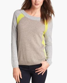 Beige & Yellow Colorblock Cashmere Sweater
