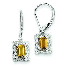 Sterling Silver Diamond & Whiskey Quartz Earrings QE10168WQ