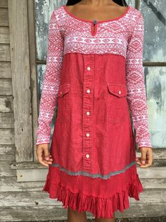 Romantic/Tattered/Boho/Rustic/Gypsy Dress upper part of dress is made with cotton lower part is made with cotton and has added ruffle along bottom edge (trim and bow) and tie along back for closer fit Size-small medium Chest-37 with stretch Hips-40 Length-37