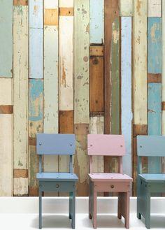 Papel pintado listones madera azul verdoso