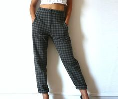 AUTRE TON French Vintage Checkered Pants by bOmode on Etsy, $48.00