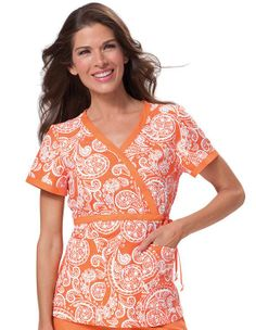 Orange paisley! Gotta have it. Koi Happiness Scrubs Women's Kathryn Print Wrap Top.   #orangeisthenewblack