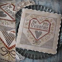 Be my Valentine / Primitive cross stitch pattern / PDF / Valentine's Day Cross Stitch Finishing, Cross Stitch Heart, Embroidery Hearts, Cross Stitch Embroidery, Embroidery Ideas, Cross Stitch Designs, Cross Stitch Patterns, 123 Stitch, Little Stitch