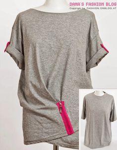 DIY Clothes Refashion: DIY T-Shirt Drapery with a Zipper DIY diy t-shirt diy fashion diy refashion diy clothes diy ideas diy crafts diy shirt diy top Diy Outfits, Shirt Refashion, T Shirt Diy, Clothes Refashion, Diy Clothing, Sewing Clothes, Clothing Blogs, Upcycling T Shirts, Upcycling Ideas
