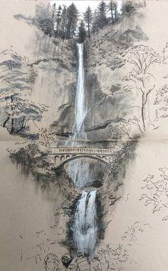 Architectural sketches 568227677985930506 - Multnomah Falls Source by merimeemiggliac Landscape Pencil Drawings, Landscape Sketch, Pencil Art Drawings, Art Drawings Sketches, Landscape Art, Landscape Paintings, Bts Drawings, Art Illustrations, Watercolor Art