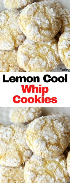 Cookie Recipes, Dessert Recipes, Brownie Recipes, Delicious Desserts, Cool Whip Cookies, Yummy Cookies, Lemon Recipes, Whip Frosting, Eating Lemons