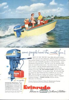 1950s Evinrude Motor Advertisement Vintage Fishing