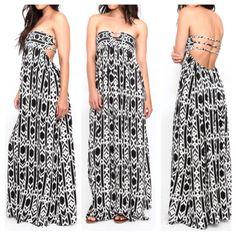 Bohemian boho chic gypsy aztec print maxi dress summer forever outfits coachella festival ootd
