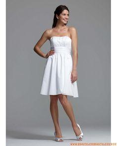 kurze ausgefallene Brautkleider aus Satin trägerlosige Mode