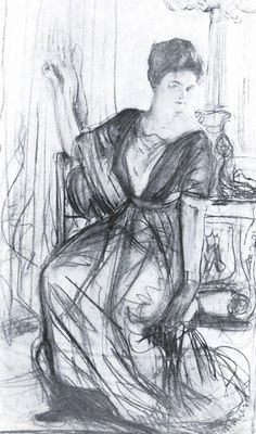 Valentin Serov (1865 –  1911) - Sketch for a Portrait of P.I. Scherbatova,  1911