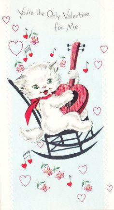 Valentine kitten playing heart-shaped guitar