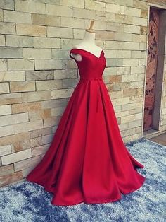 Sexy Off the Shoulder Satin Prom Party Evening Gown A Line Pageant Dress Custom