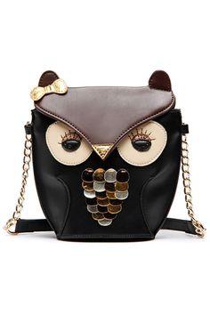 Glittering Owl Shoulder Bag
