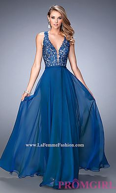 V-Neck Formal Gown with Embroidered Top by La Femme at PromGirl.com
