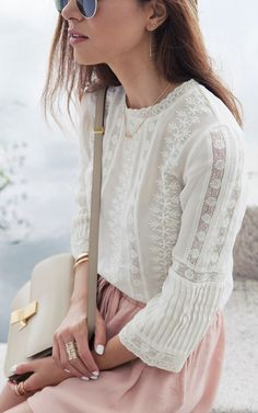 Ulla Johnson Eyelet Anunushka Blouse - Lace & blush