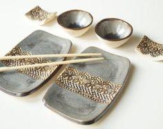 Plato sushi plato gris turquesa plato de cerámica por bemika