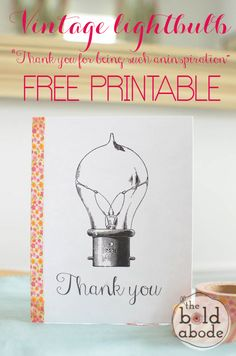 "Super cute Washi Tape Thank You Card: Send your someone special this 'Thank you for being such an inspiration"" FREE Printable!"