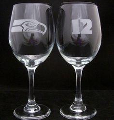 Seattle Seahawks 12th Man Wine Glasses birthday by Etchddreams, $20.00